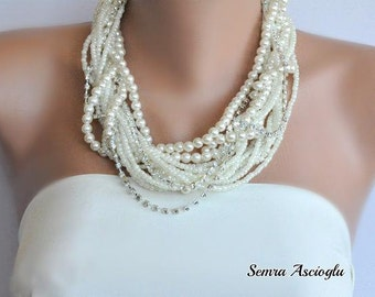Handmade Chunky Layered Ivory Pearl Necklace , Wedding Pearl Necklace,Multi Strand Bridal Necklace,Pearl Bold Bridal necklace, Ivory Pearl