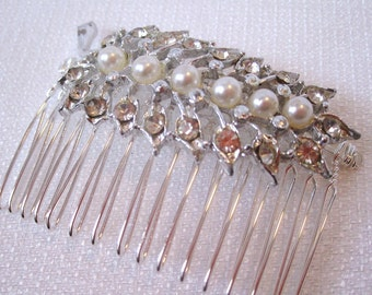 Silver Pearls and Rhinestone Hair Comb, Reclaimed Vintage Brooch