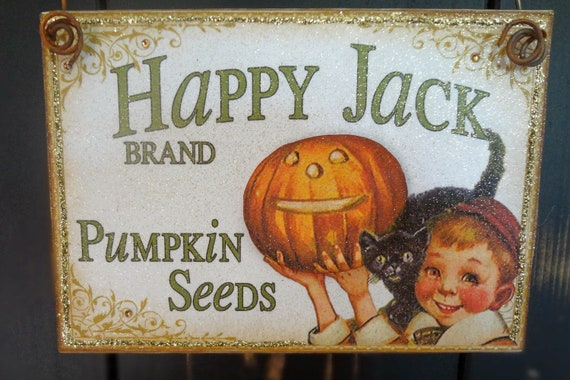 Items similar to Happy Jack Halloween Sign, Primitive ...