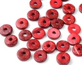 CLOSING SHOP - 50 Red Coconut Donut Beads - 12mm - B792