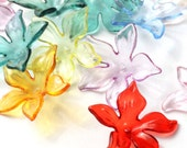 CLOSING SHOP - 25 flower beads acrylic flower mixed colors - 22mm B149
