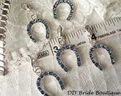 5 Lucky horseshoe charms, Rhinestone horse shoe pendants, Goog Luck charm, something blue horseshoe, wedding charm, lucky charm