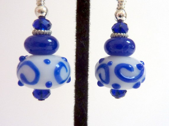 Blue and White Earrings, Blue Swirls on White Glass Beaded Earrings, Lampwork Earrings, Fun Earrings
