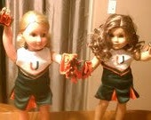 Special Order for Jackie Piedarhita American Girl or 18 inch Doll Cheer Outfit Miami Hurricane