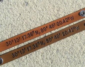 His n Hers custom Nautical - Latitude / Longitude - set of two - 5/8 inch wide leather wristband