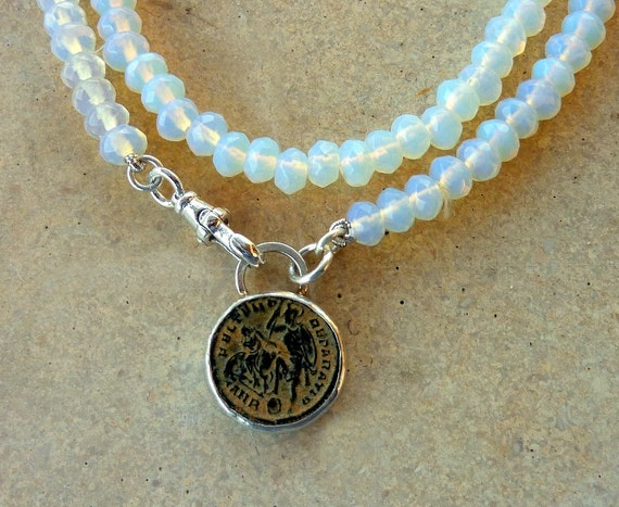Opal necklace with an Antique Roman coin, statement necklace,  Strand necklace,