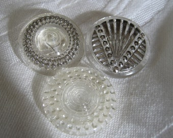 Lot of 3 VINTAGE Clear Glass BUTTONS