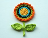 Crochet Circle Motif Flower with leaves and stem - yellow, orange and black