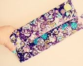 Fold Over Clutch Convertible Purple Floral Modern Green Retro Vibe