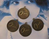 French Charms in Brass Ox Finish OUI OUI 375BOX x4