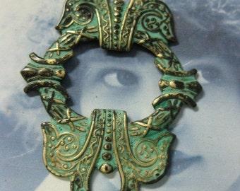 Verdigris Patina Celtic Wreath Brass Stamping 287VER x1