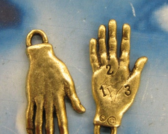 Antique Gold Plate Palmistry Hand Charms 2180GOL x2