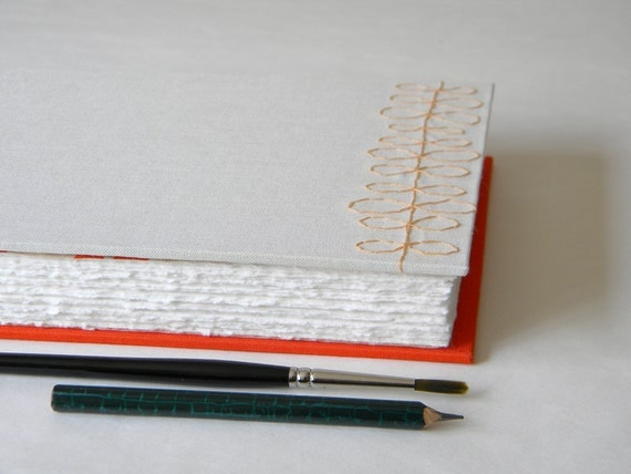 Handmade Sketch Journal - Orange and Cream - Wet and Dry Media - Landscape Format