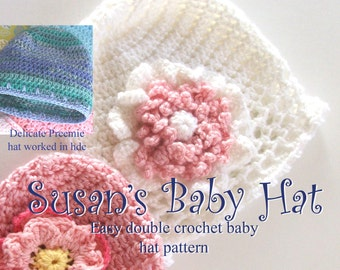 Crochet Baby Hat PATTERN - Fast and Easy CROCHET PATTERN Baby Cap with Flowers- Instant Download