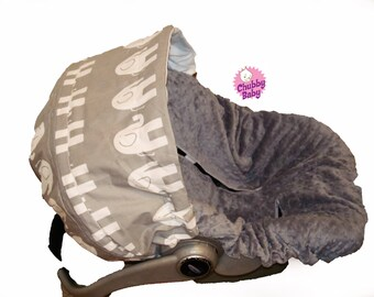 Infant Car Seat Cover, Baby Car Seat Cover in Baby Grey Elephants