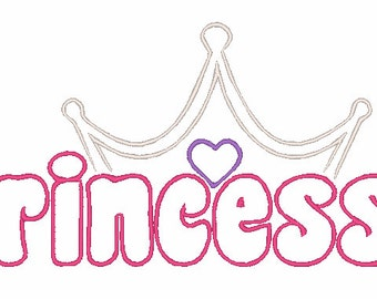 Princess with Crown Machine Embroidery Design 012
