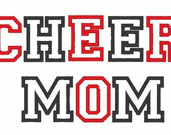 Cheer Mom Applique Machine Embroidery Design 017