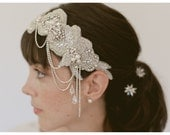 Wedding headpiece, bridal headband, bridal hairpiece, 1920s cloche,  style 830 - EricaElizabethDesign