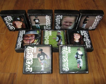 Reserved for Veronica- Personalized LaRGER Photo Blocks- set of 11 Letter Blocks for your BASEBALL TEAM Coach TEAM MoM