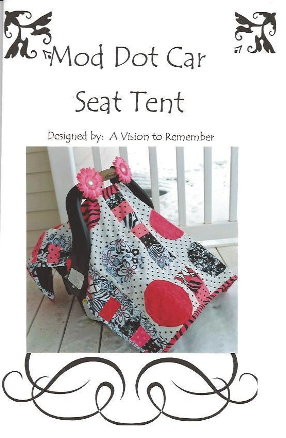 PATTERN, Car Seat Cover, Baby Quilt, Quilted, Applique, Mod Dot, Mailed