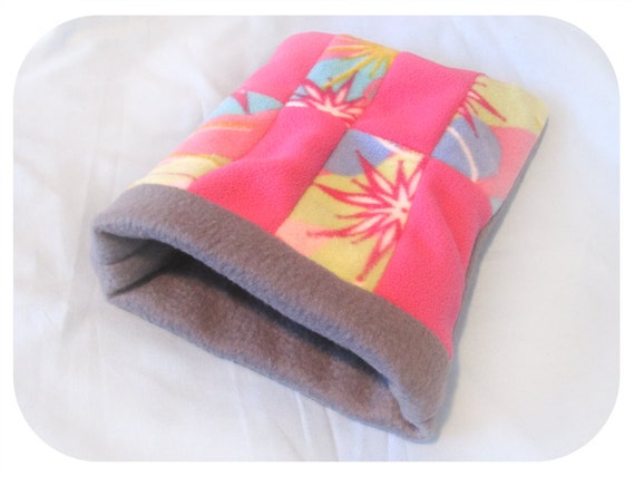 SUPER SALE Fleece Sleeping Pouch for Hedgehog And Other Small Animals - Grey and Pink