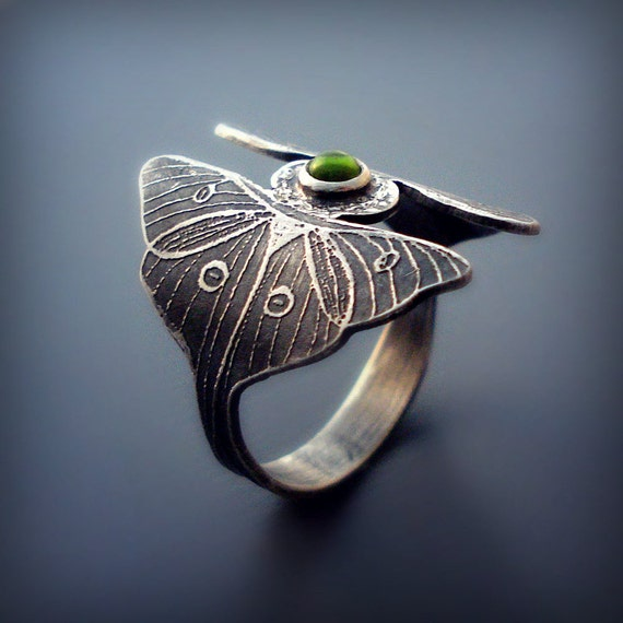 Silver Luna Moth Ring with Peridot Cabochon - gemstone  ring - MADE TO ORDER