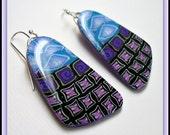 Periwinkle & Purple  Mini Mosaic Dangle Earrings, polymer clay jewelry