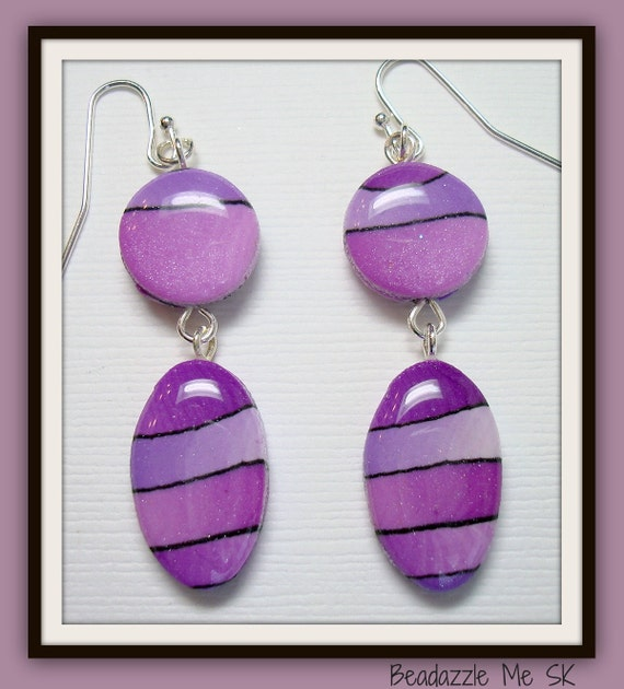 Purple Passion Drop Earrings, polymer clay jewelry