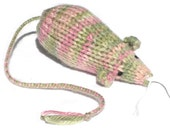 Knit Catnip Mouse Cat Toy is Pink and Green Striped