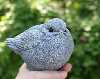 Concrete Bird Statue - Fat Bird Garden Sculpture