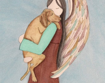 Vizsla cradled by angel  / Lynch signed folk art print