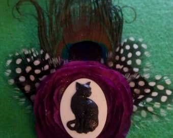 Cat, Cat cameo, Cat fascinator, Purple, Purple fascinator, ready to ship, gifts for her, cat feather clip, retro, new years
