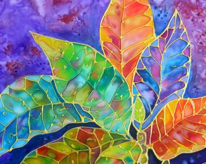 Croton Tropical Leaves 8x10 print  from Kauai Hawaii purple orange blue