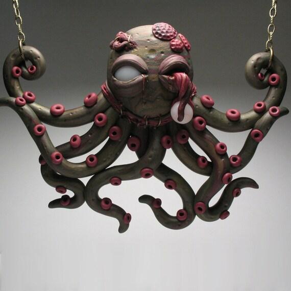 Zombie Octopus Necklace - Wearable, Art Sculpture