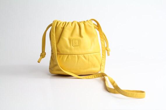 80s vintage Anne Klein BRIGHT YELLOW leather bucket bag