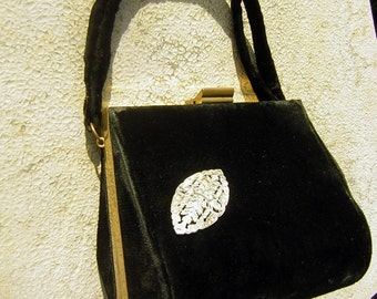 Vintage 40s velvet Purse Black Evening Bag & Rhinestone Brooch Accent - Jemco Garay