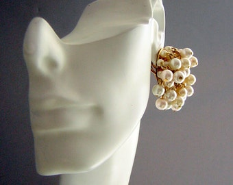 60s ChaCha Cluster Earrings Faux Pearl - Huge Statement JewelryRetro aGoGo Vintage Statement Earrings