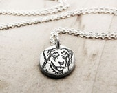 Tiny Australian Shepherd necklace, silver dog necklace, Australian Shepherd jewelry