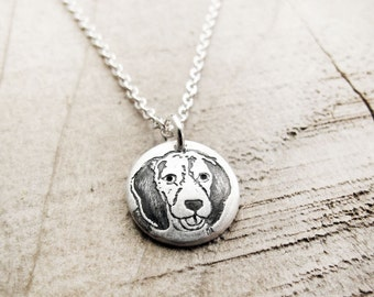 Beagle necklace, silver dog necklace, tiny dog jewelry