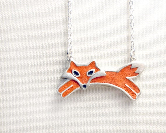 Red fox necklace - sterling silver and concrete