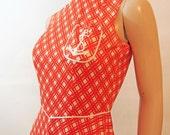 Mini Dress - Orange Plaid - Nautical  - Swingy Skirt - Vintage 70's