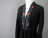 Vintage Lingerie - Black Velour Caftan Robe - Modern Size 4 to 6 - XSmall to Small