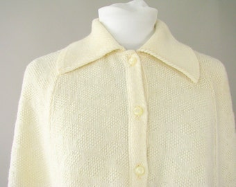 Vintage 1970's Ivory Poncho Knit Cape, Up to a Modern Size 18