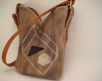 Upcycled Cowboy Boot Purse Brown suede Dan Post