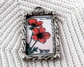 Sterling Silver and Glass Pendant with Postage Stamp - Pretty Flowers - One of a Kind (EM)