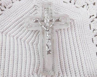 Vintage Glass and Metal Crucifix - Second Quality