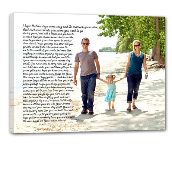 Holiday Gift for Dad Custom Family Personalized Photo Gift on Canvas Words Text Quote Sayings 12x16