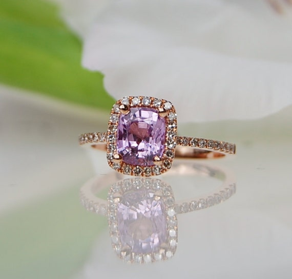 1.4ct  Lavender Peach Cushion color change Sapphire ring 14k rose gold ring diamond ring  Engagement Ring peach lavender