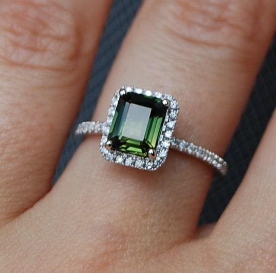 Reserved 1 76ct Emerald Cut Forest Green Sapphire Diamond