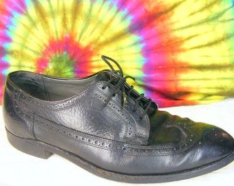 12.5 EEE mens vintage black leather longwing wing-tip oxfords shoes extra wide